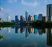 Austin Skyline a Green Reflection by Roschetzky