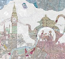 4 o'clock tea London Map by Paula Belle Flores
