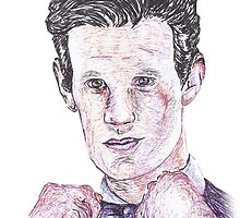 Matt Smith, Eleventh Doctor - Pen Drawing by Sam Richard Bentley