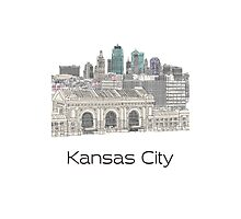 Hand Drawn Kansas City Skyline Photographic Print