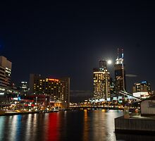 Full moon above Crown Casino, Melbourne by Nils Versemann