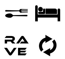 Eat. Sleep. Rave. Repeat. in WhiteBG/BlackFont by Michael Harden