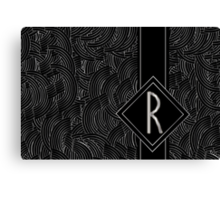 1920s Jazz Deco Swing Monogram black & silver letter R Canvas Print