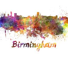 Birmingham skyline in watercolor by paulrommer