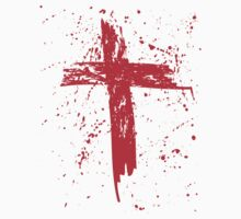 Red Grunge Cross with Red Splats by StudioBlack