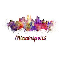Minneapolis skyline in watercolor Photographic Print
