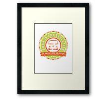 Retro Badge Seventies Orange Green Grunge Framed Print