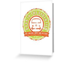 Retro Badge Seventies Orange Green Grunge Greeting Card