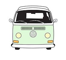 Early Bay VW Camper Front Pale Green by splashgti