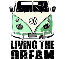 VW Camper Living The Dream Green by splashgti