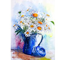Daisies in a Blue Jug Photographic Print