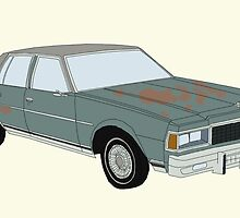Hand Drawn Vintage Chevy Sedan by itsrturn