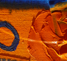 Collage Nr. 6 : orange, blue and wood Sticker