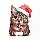 Lil Bub Funny Cat Portrait by OlechkaDesign