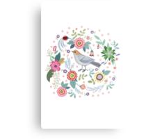 Beautiful bird in flowers Metal Print