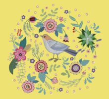 Beautiful bird in flowers Kids Clothes