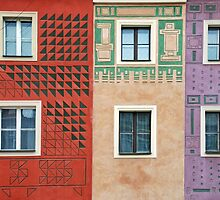 Colorful facades in Poznan - Poland by Arie Koene