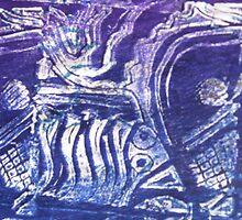 Blue Fish - Collaged Abstract Fish Lino Print  by Heather Holland by Heatherian