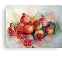 Pomegranates in Watercolour Canvas Print