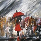 Girl In Red Raincoat Umbrella Rainy Day Acrylic Painting On Paper by JamesPeart