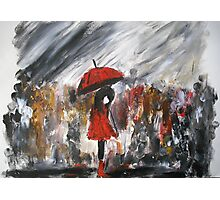 Girl In Red Raincoat Umbrella Rainy Day Acrylic Painting On Paper Photographic Print