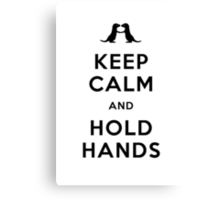 Keep Calm and Hold Hands (Otters holding hands) Black design Canvas Print