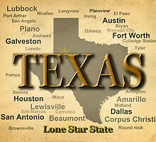 Texas State Pride Map Silhouette  by KWJphotoart