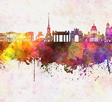 Saint Petersburg skyline in watercolor background by paulrommer