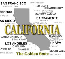 California State Pride Map Silhouette  by KWJphotoart