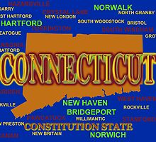 Connecticut State Pride Map Silhouette  by KWJphotoart