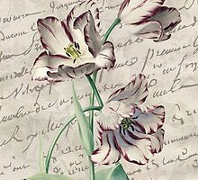 Amethyst Tulip French Botanical Digital Collage  by ChezLorraines