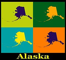 Colorful Alaska State Pop Art Map by KWJphotoart