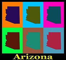 Colorful Arizona Stat Pop Art Map by KWJphotoart