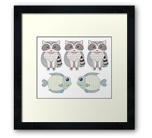 Three Raccoon and Two Fish Framed Print