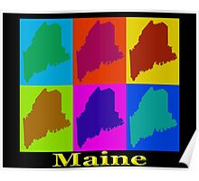 Colorful Maine Pop Art Map Poster