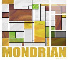 Mondrian Brown Yellow Green  by Traci VanWagoner