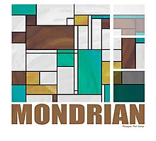 Mondrian Brown Yellow Teal  Photographic Print