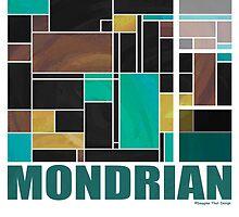Mondrian Teal Brown Black  by Traci VanWagoner