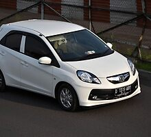 white colored honda brio by bayu harsa