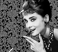 Audrey Heburn Portrait with Cigarette Holder by Everett Day