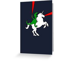 Dinosaur Riding Unicorn Greeting Card