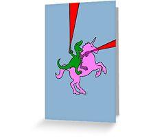 Dinosaur riding Invisible Pink Unicorn Greeting Card
