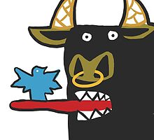 Funny Bull with bird by nobra