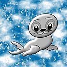 Baby Seal on a Blue Background - pillow & tote design by Dennis Melling