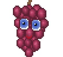 Grape Pixel Smile - White Background by CraftSalad