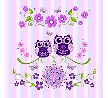 Cute Owls, butterflies & Flowers on a striped background Photographic Print