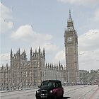 London Cab at Big Ben Sketch by Allen Lucas