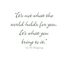 It's not what the world holds for you, it's what you bring to it by Amantine