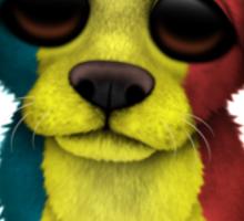 Cute Patriotic Romanian Flag Puppy Dog Sticker