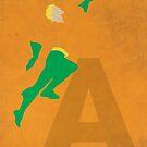 Aquaman - Superhero Minimalist Alphabet Print Art by justicedefender
